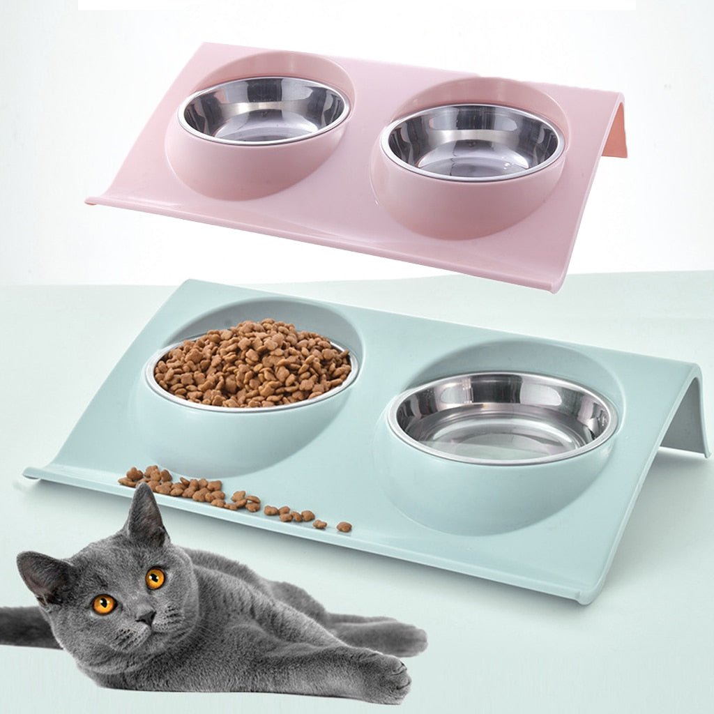 Thicken Pet Food Bowl Stainless Steel Double Pet Bowls Food Water Feeder for Dog Puppy Cats Pets Supplies Feeding Dishes