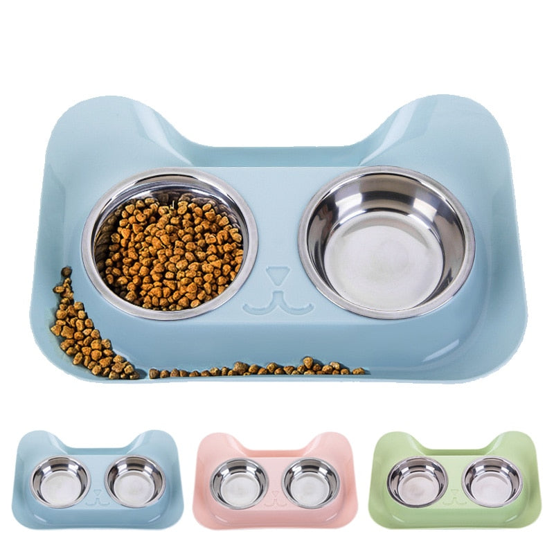 Double Dog Cat Bowls Non-spill & Non-skid Design Food Water Feeder for Small Dogs Cats Feeding Stainless Steel Pet Bowl Supplies