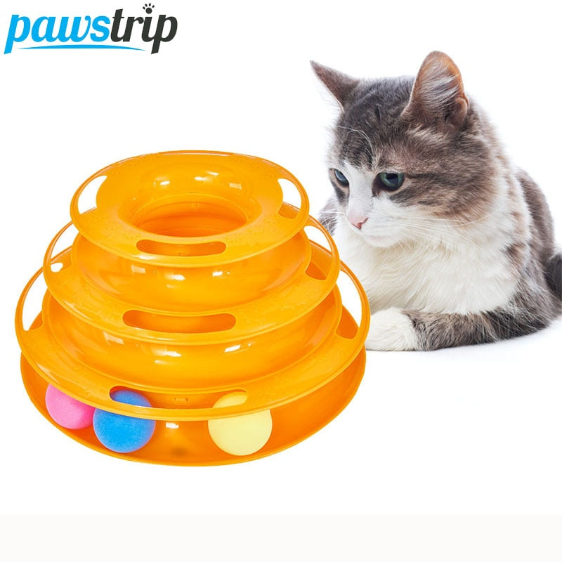 2021 3 Levels Pet Cat Toy Tower Tracks Disc Interacitve Cat Toys Ball Training Amusement Plate Cat Tracks Toys For Cats Kitten jouet