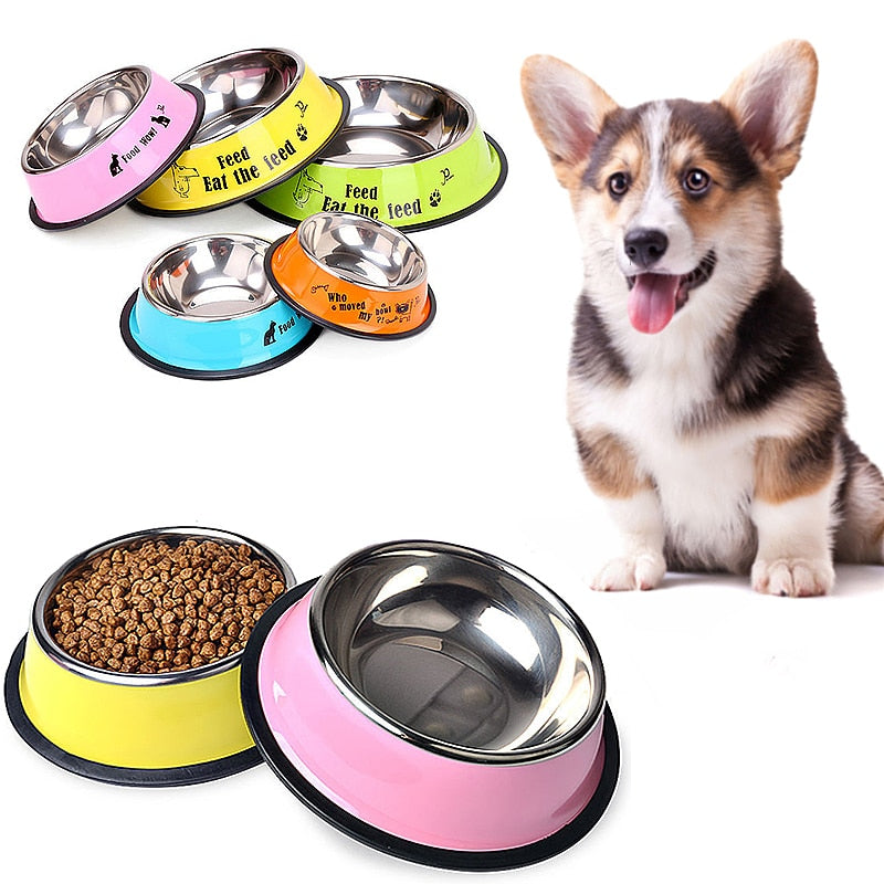 Pet Dog Bowl Stainless Steel Feeder Drinking Water Bowl Puppy Cat Food Drink Water Feeder Cartoon Pattern Anti Skid Pet Supplies