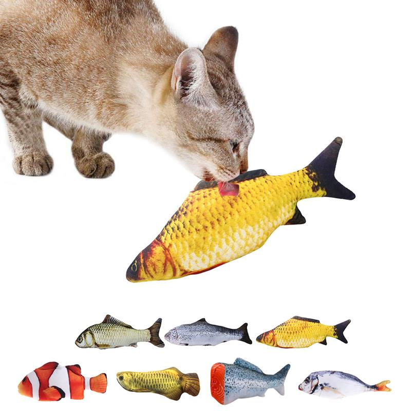 2021 Pet Soft Plush 3D Fish Shape Cat Toy Interactive Gifts Fish Catnip Toys Stuffed Pillow Doll Simulation Fish Playing Toy For Pet