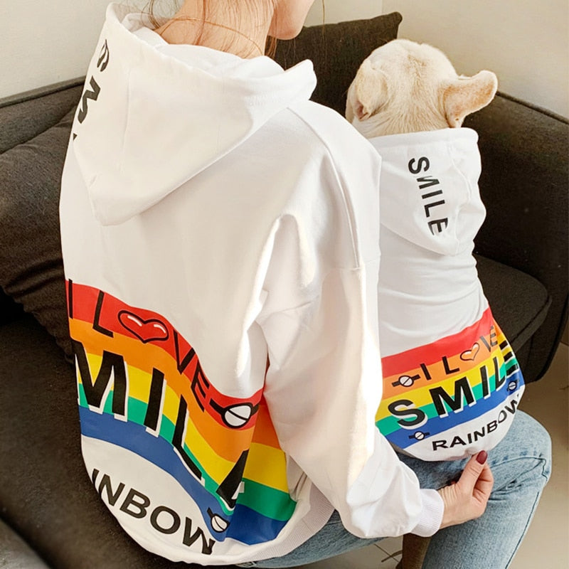 Pet Dog Spring Autumn Clothes for Small Dogs Pets Clothing French Bulldog Rainbow Pattern Hoodies Puppy Chihuahua Yorkie Costume