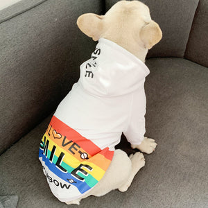 Open image in slideshow, Pet Dog Spring Autumn Clothes for Small Dogs Pets Clothing French Bulldog Rainbow Pattern Hoodies Puppy Chihuahua Yorkie Costume