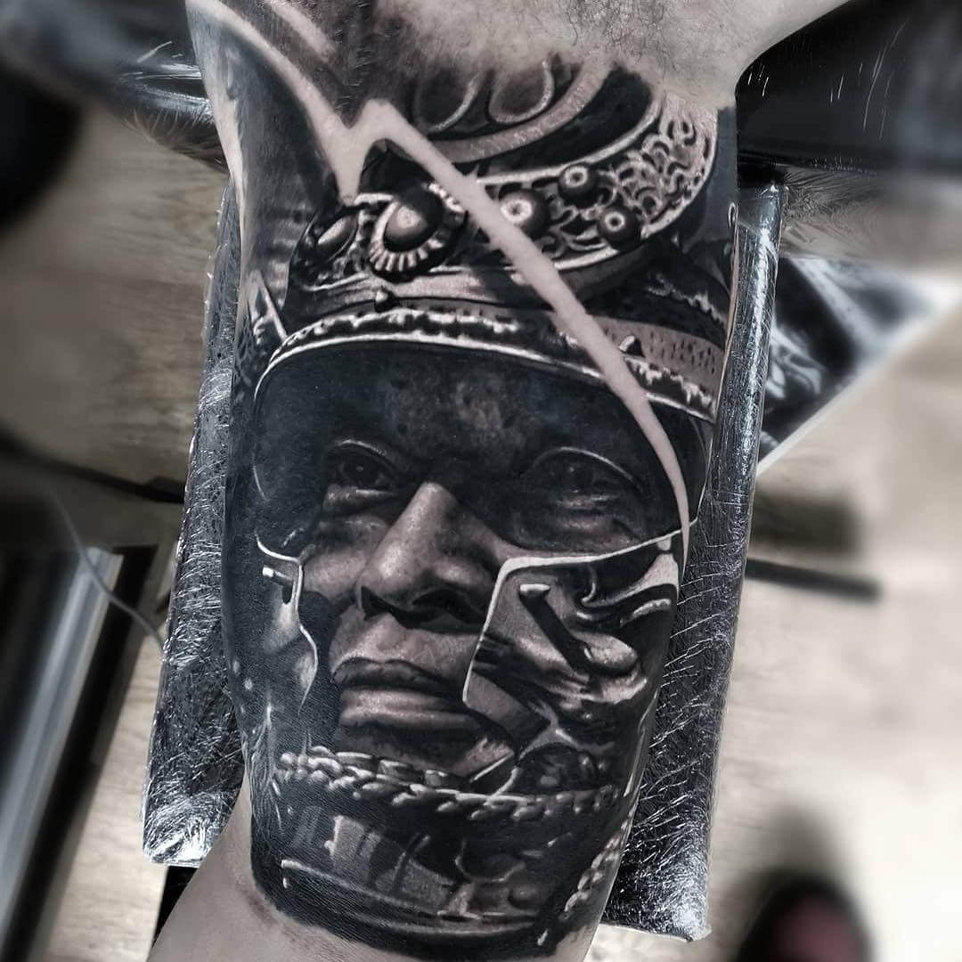 Black & Grey Realism Arm Tattoo of a Samurai by Yarson