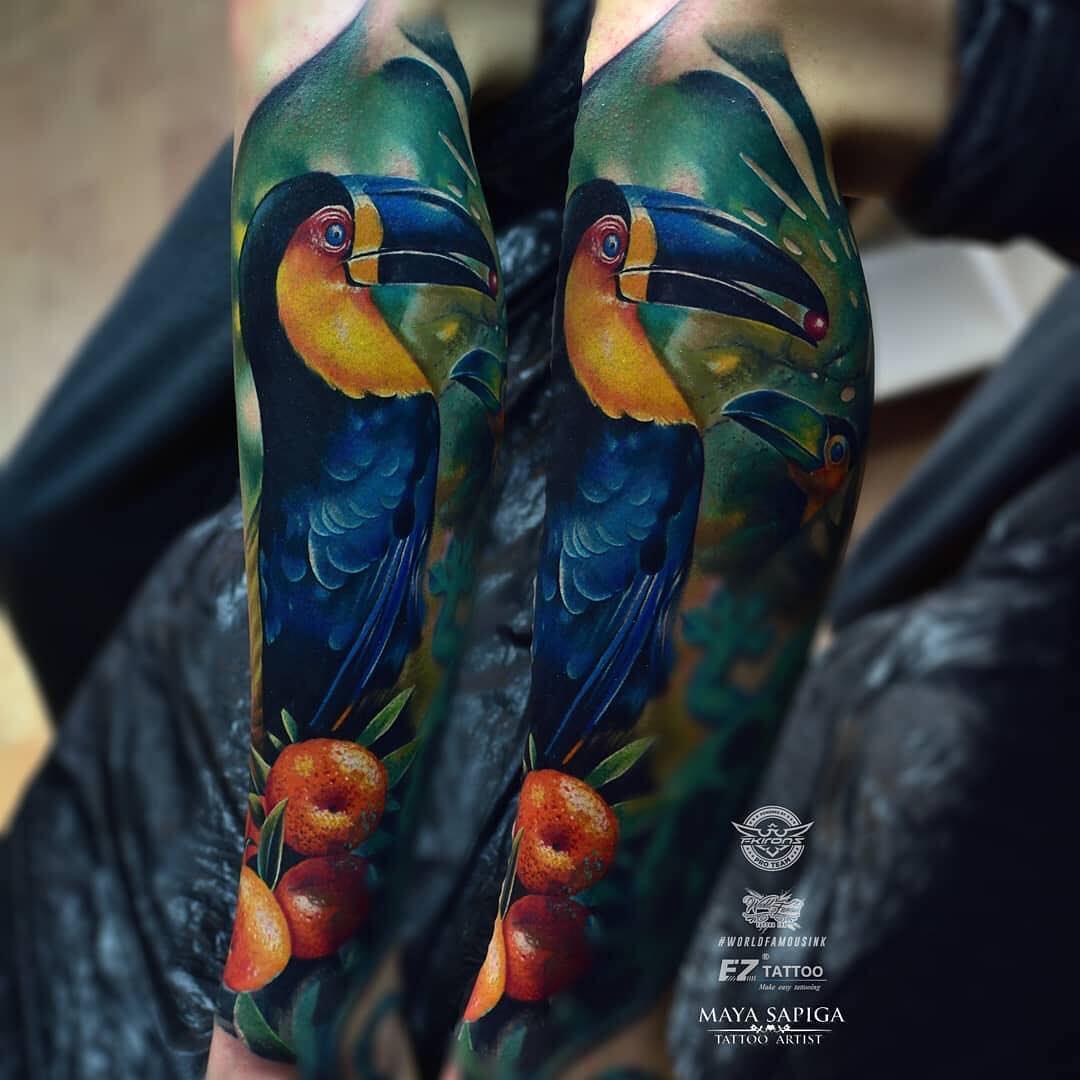 Colour Realism Tattoo of a Pelican by Maya Sapiga