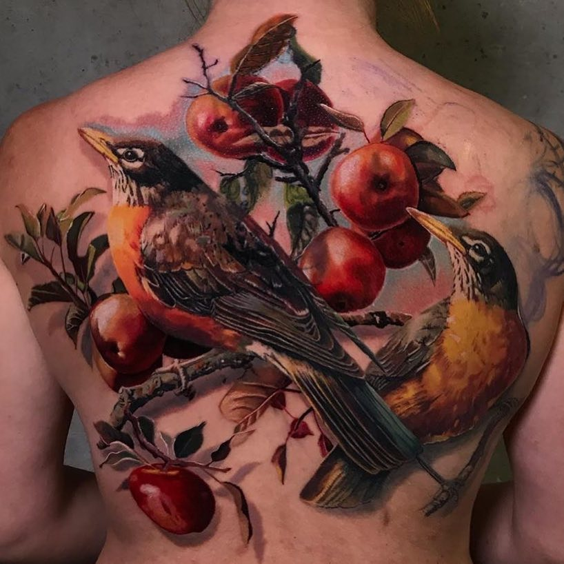 Colour Realism Back Tattoo of Birds and Apples by Torsten Malm