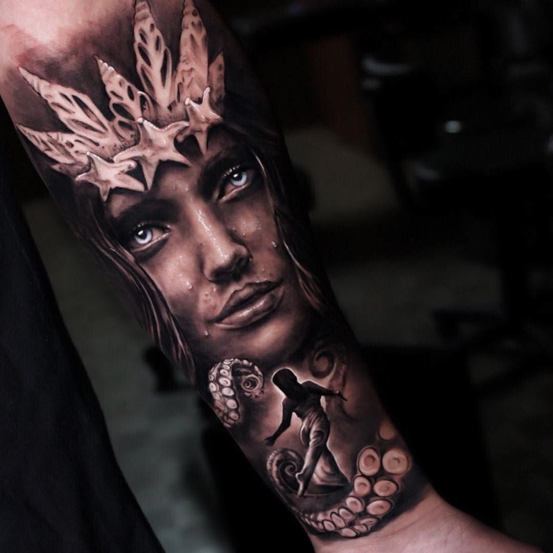 Realism Black & Grey Arm Tattoo of The Lady of The Sea