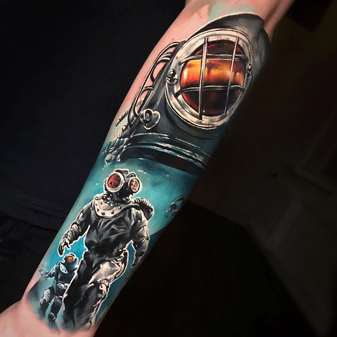 Colour Realism Tattoo of Antique Deepsea Divers in Suits