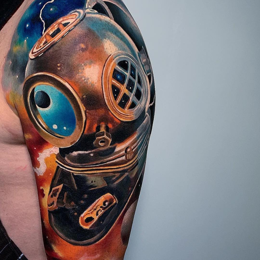 Colour Realism Tattoo Sleeve of an Antique Deep Sea Diver Helmet