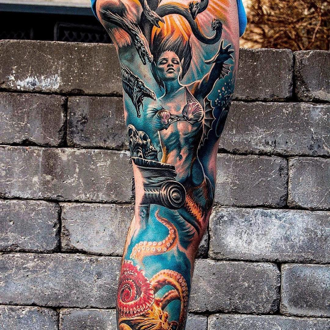 Colour Realism Tattoo of Mermaid and Octopuss
