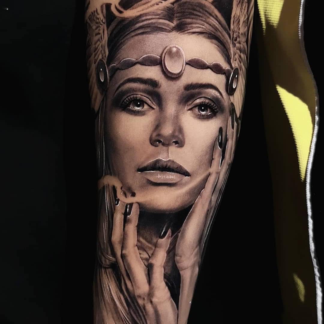 Black and Grey Arm Sleeve Tattoo by Michael D'agostini
