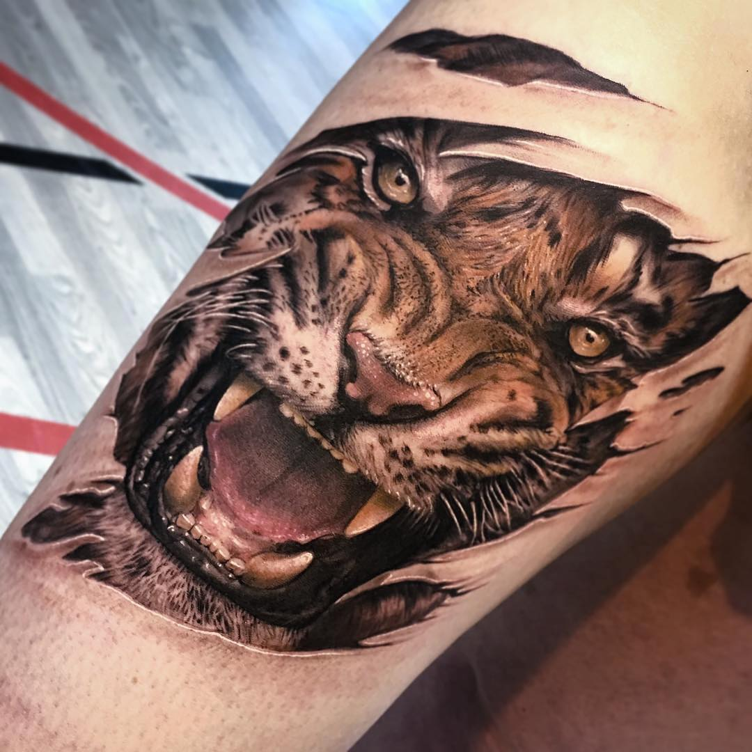 Colour Tattoo of a Ripped Tiger by Gregorio Castaño Gallego