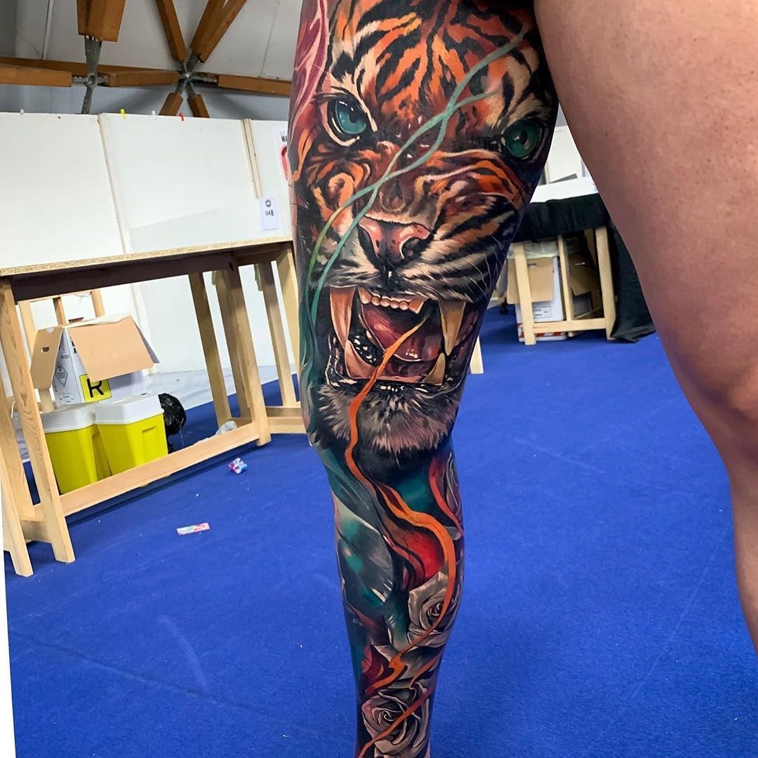 Colour Leg Tattoo of a Tiger by Luciano Prato