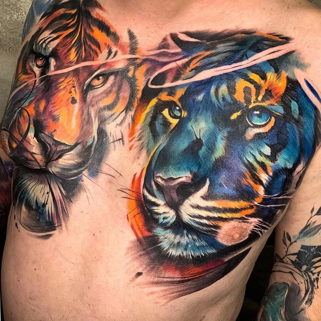 Colour Chest Tattoo of 2 Tigers by Luciano Prato