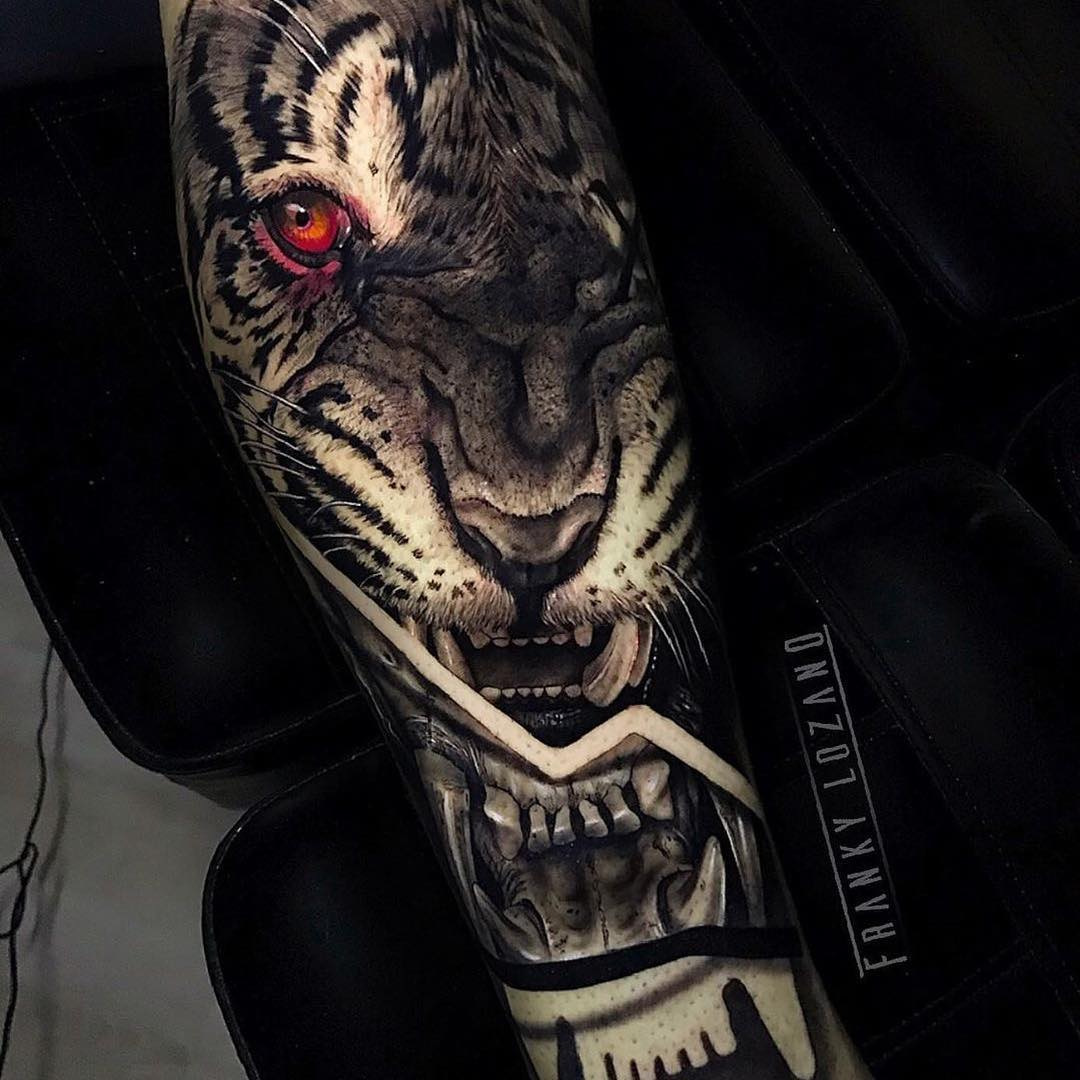 Black & Grey Arm Tattoo of a Tiger by Franky Lozano