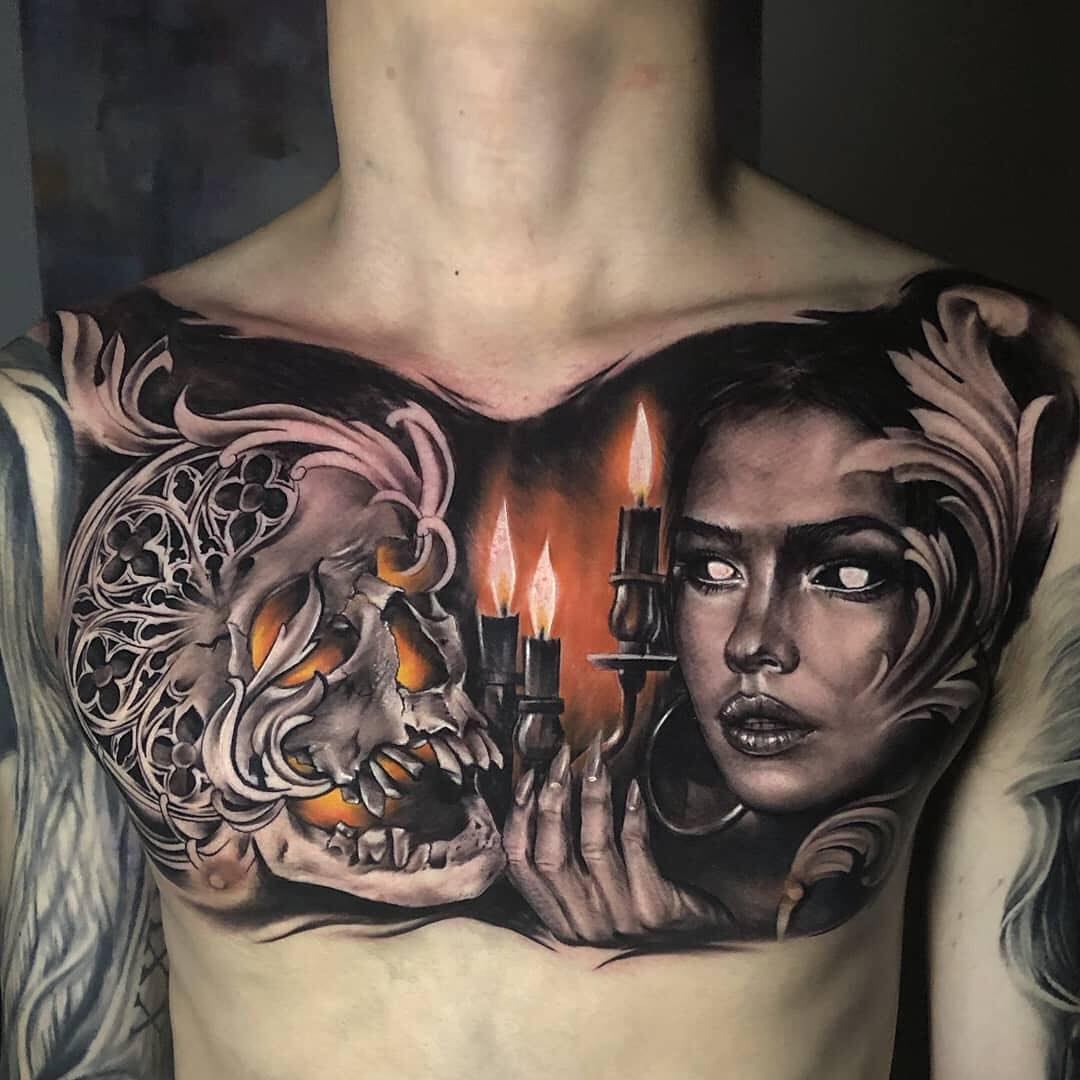 Colour Tattoo of Skull, candle and Woman