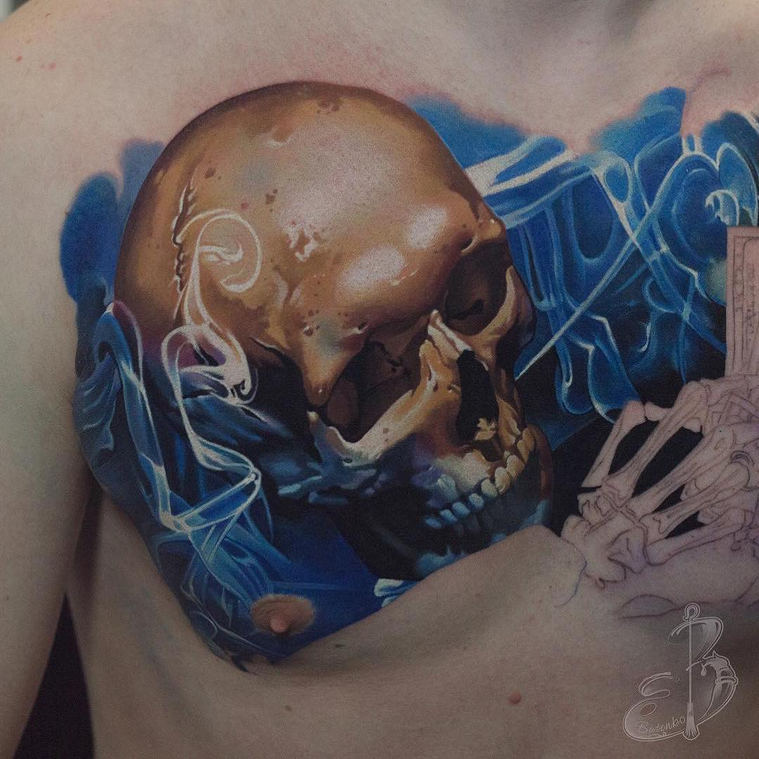 Colour Tattoo of Skull & Smoke