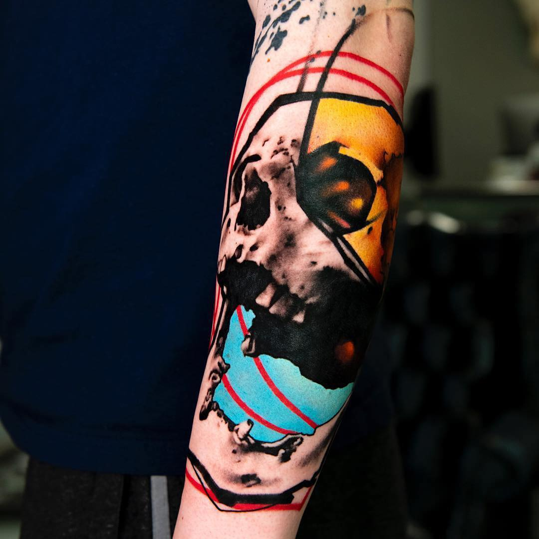Colour Tattoo of a Realistic Skull