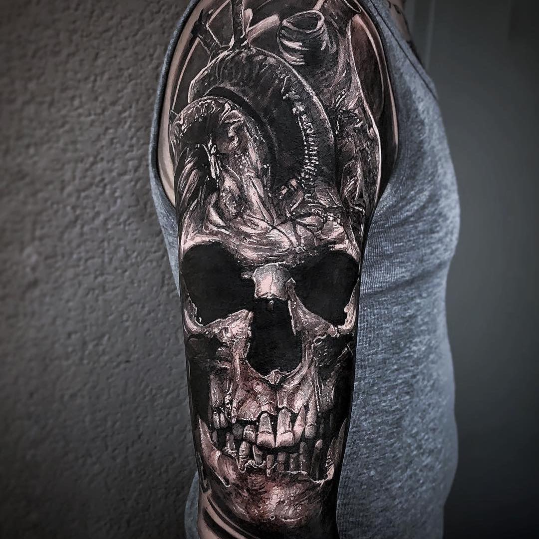 Black & Grey Tattoo of a Skull Heart
