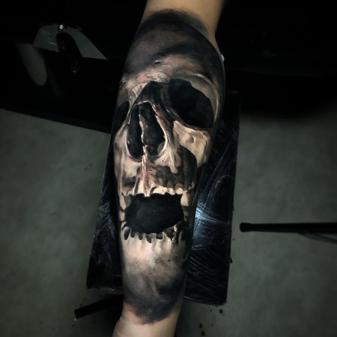 Black & Grey Tattoo of Skull