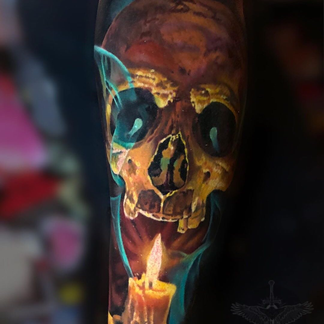 Colour Realism Tattoo of a Skull & Candle
