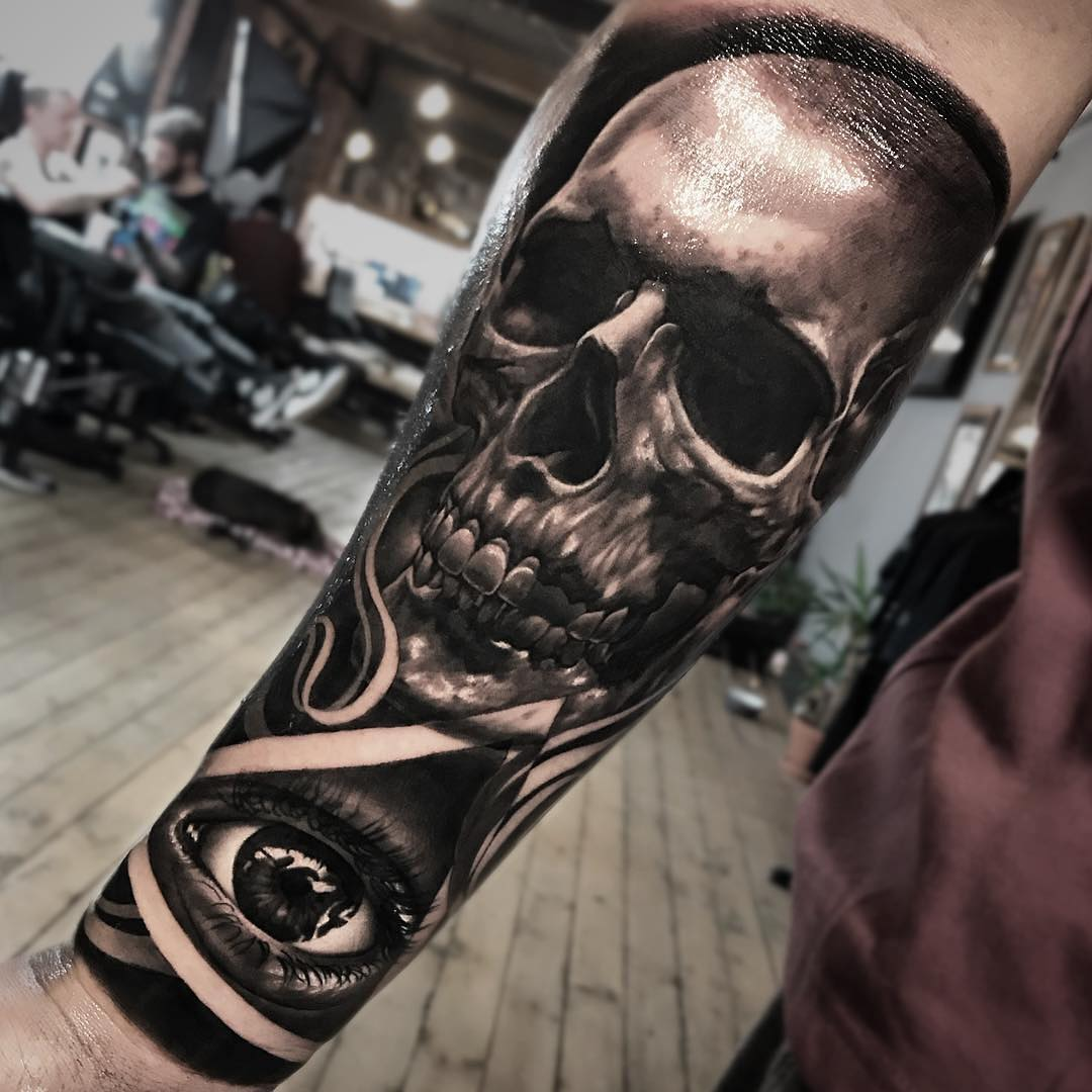 Black & Grey Tattoo of Skull & All Seeing Eye