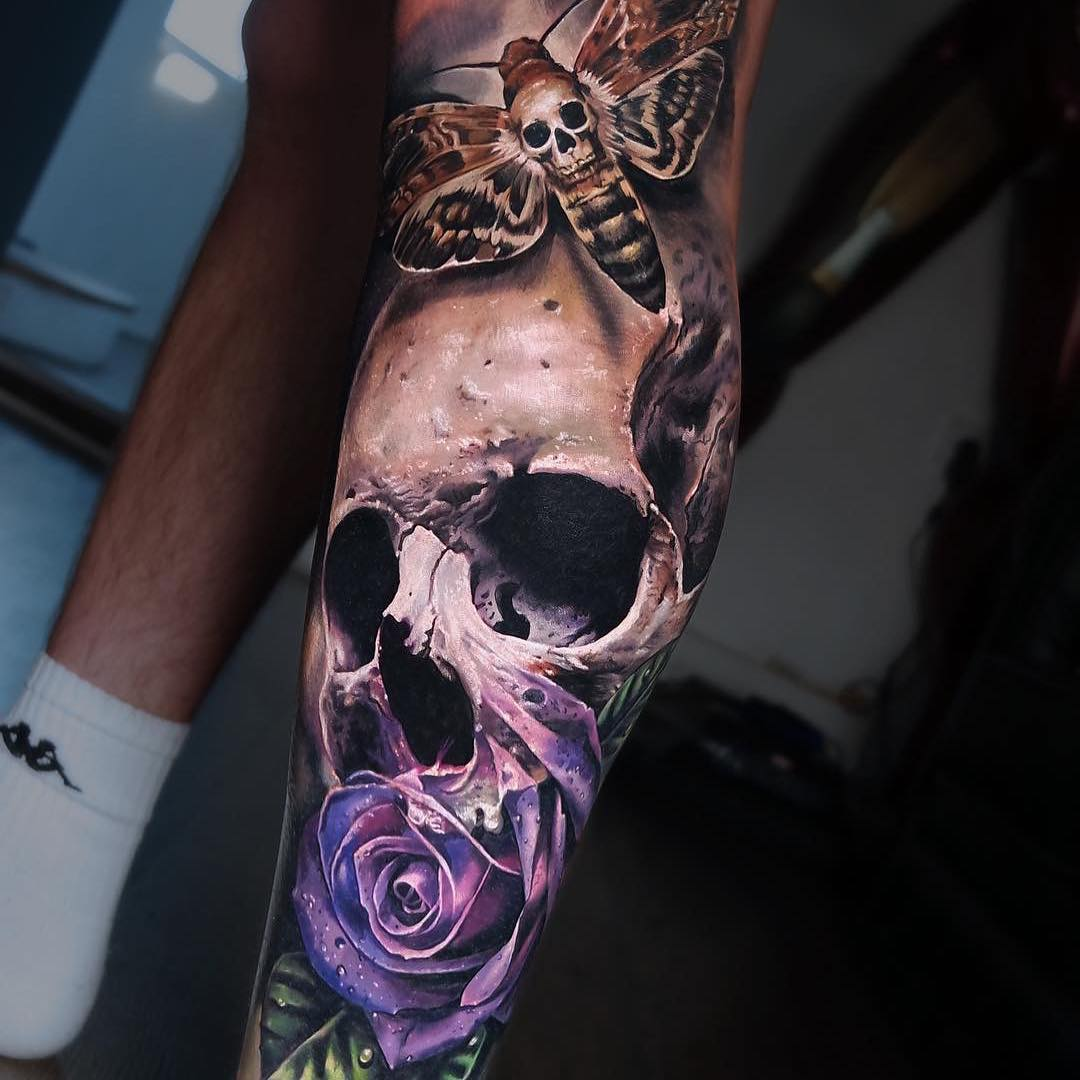 Colour Realism Tattoo of a Skull, Purple Rose and Deathmoth