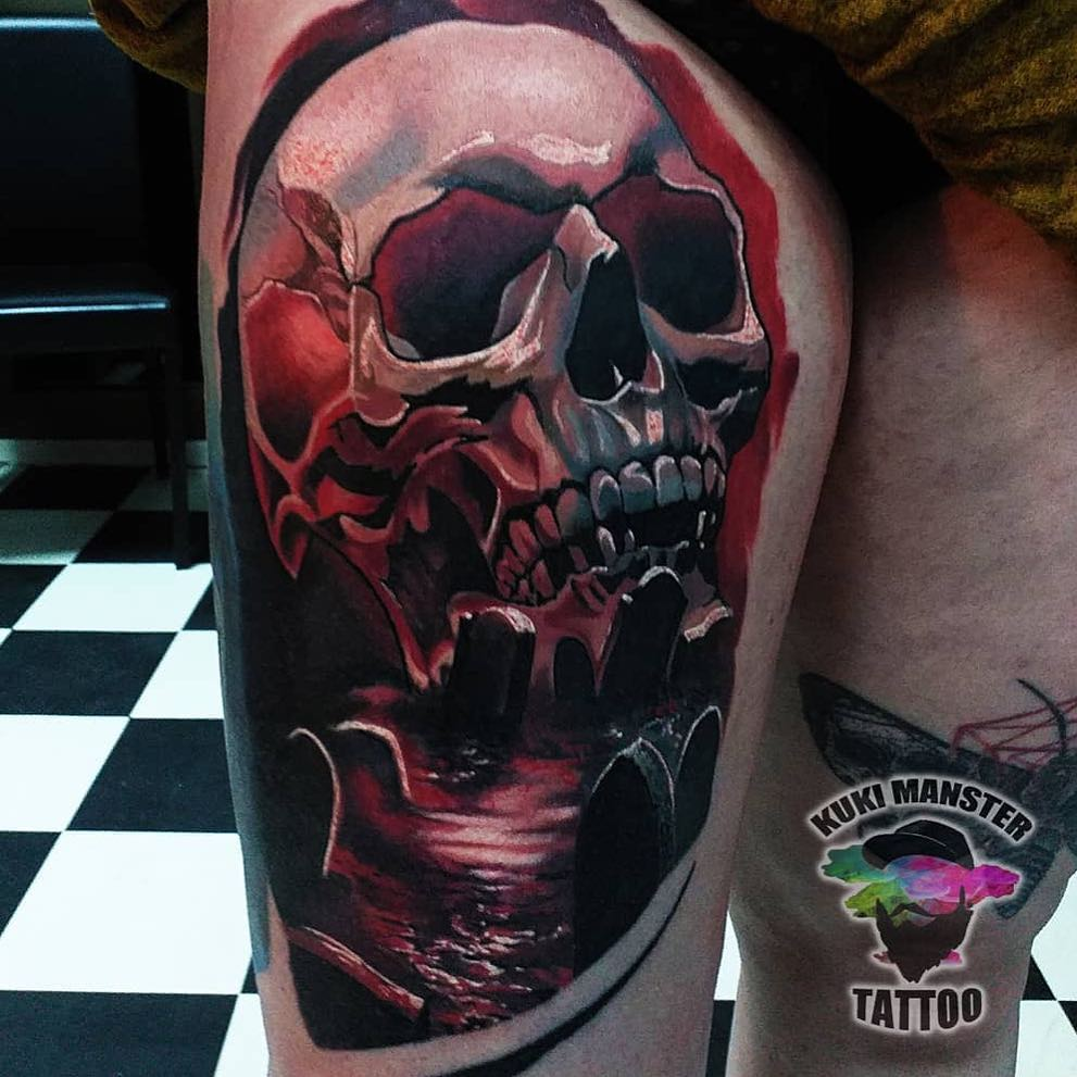 Colour Realism Tattoo of a Skull