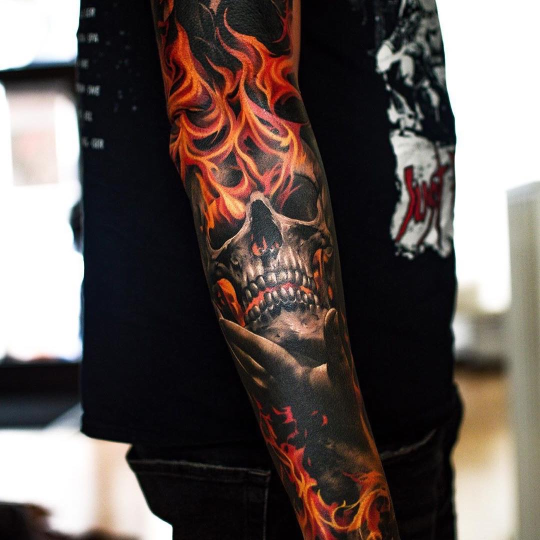Colour Tattoo of a Skull on Flames