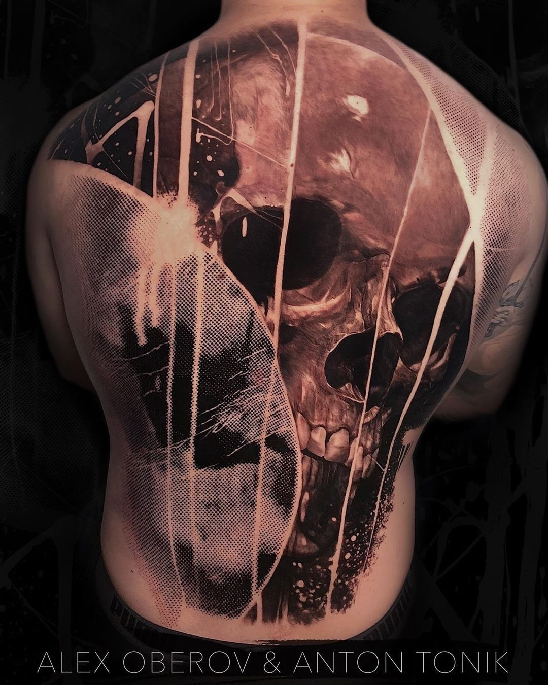 Black & Grey Tattoo Collaboration of a Skull by Alex Oberov &  Anton Tonik