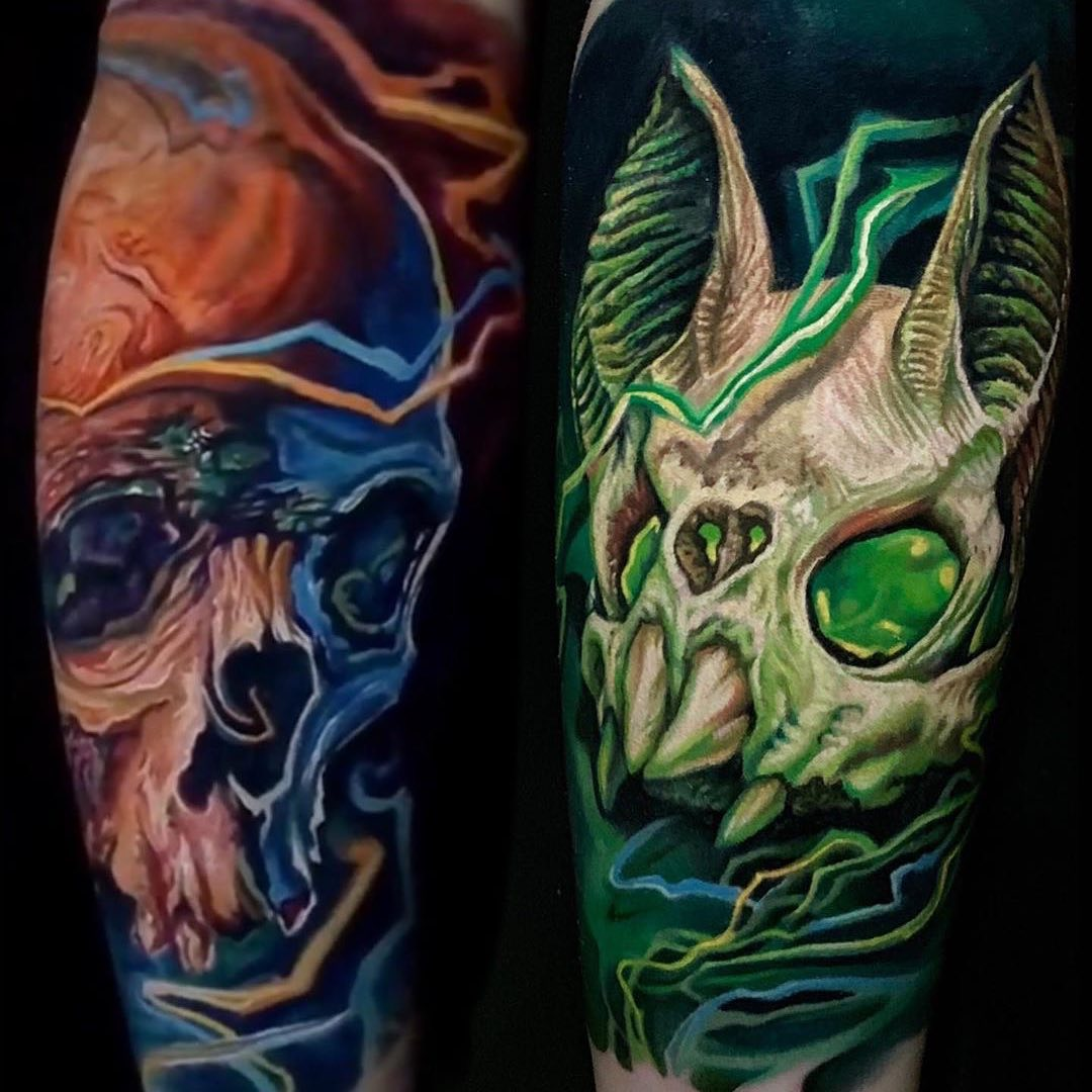 Colour Tattoo of Skull & Bat Skull by PierPaolo Rizzitiello