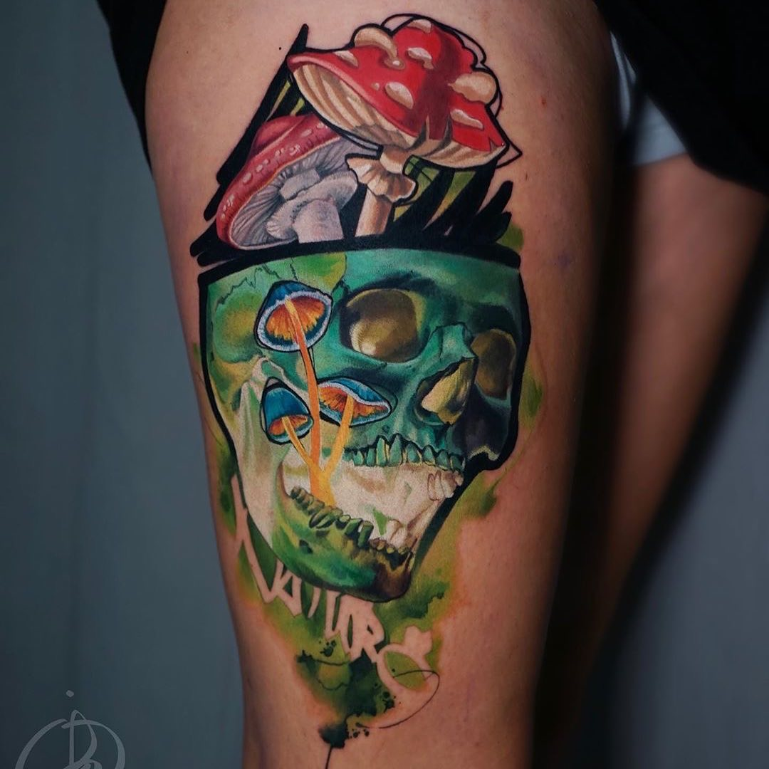 Colour Realism Tattoo of a Skull & Mushrooms by Daria Pirojenko