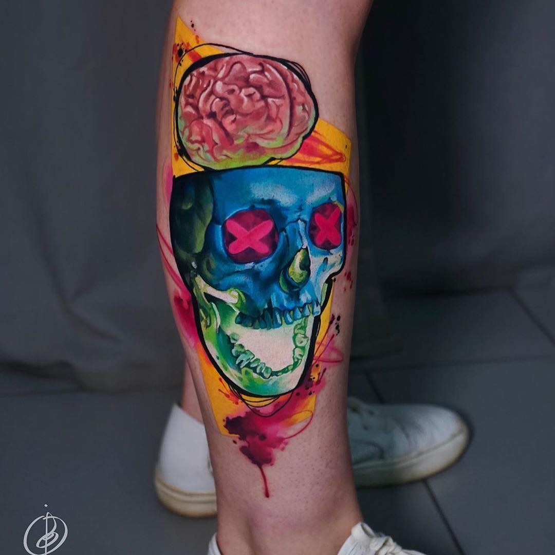 Colour Tattoo of Skull & Brain by Daria Pirojenko