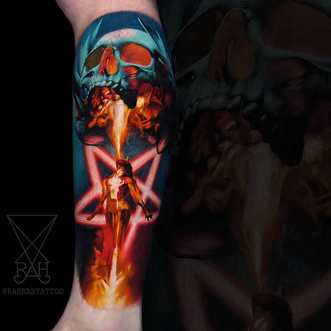 Colour Tatoo of a Skull & Starwoman by Rah Temperley
