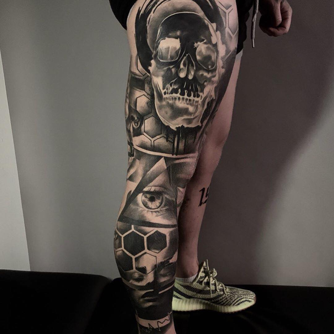 Black & Grey Tattoo of a Skull & all Seeing Eye by Scoobs Marklew