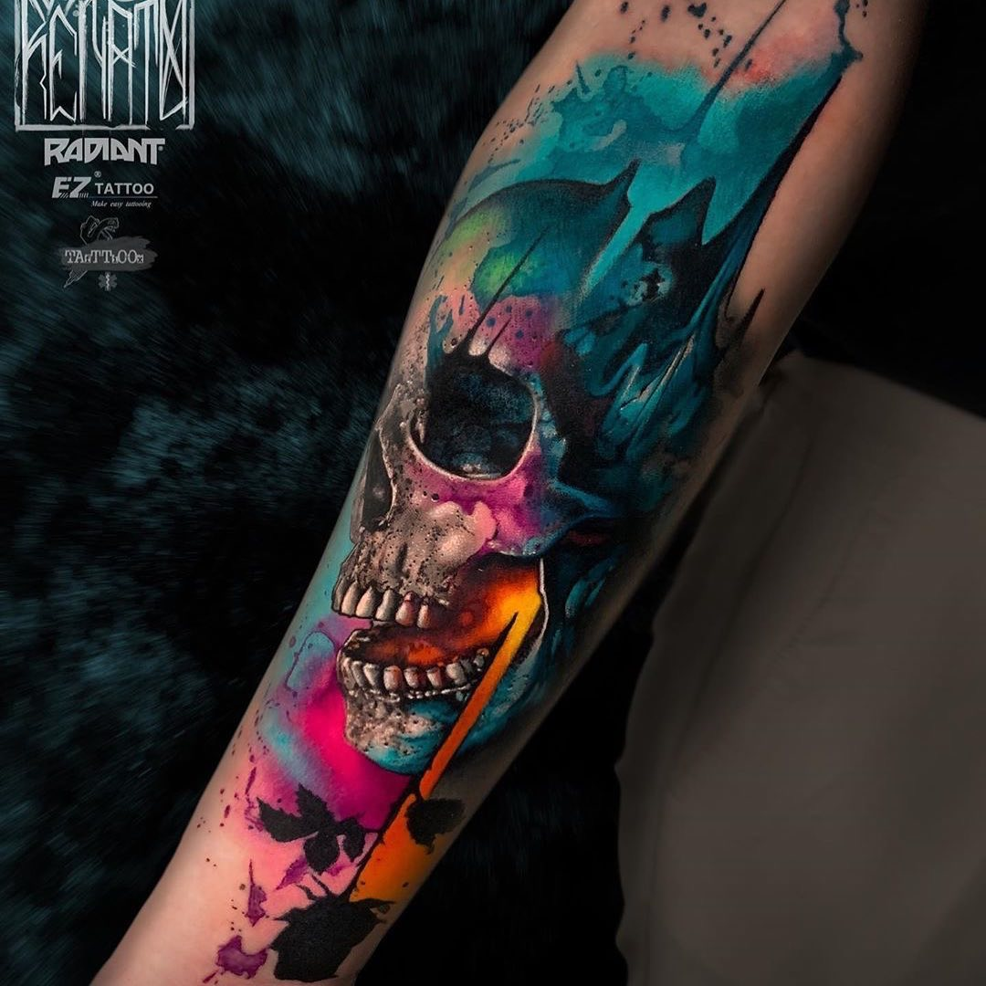 Watercolour Tattoo of Skull by Renato Vivoli