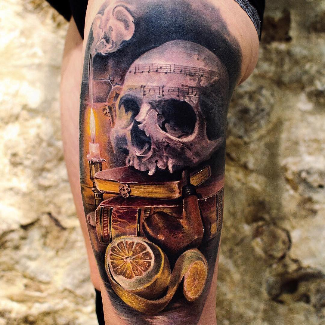 Colour Tattoo of Skull & Music by Shooby