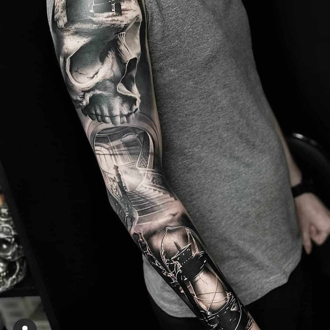 Black & Grey Tattoo of Skull, Stairs & Lantern by Simon Smith