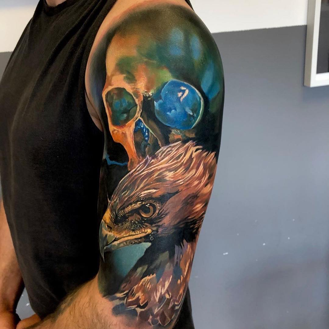 Colour Tattoo of Skull & Eagle by Paulina Lukasik