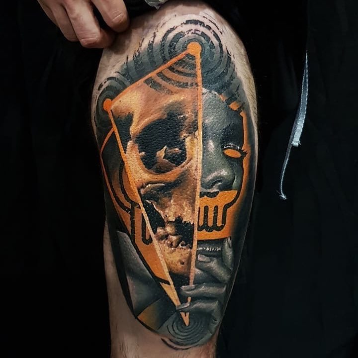 Colour Realism Tattoo of a Skull by Tin Machado