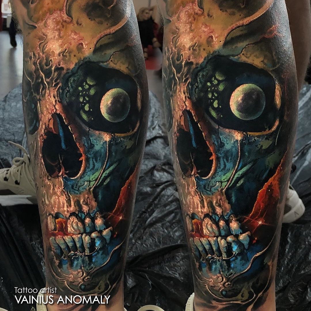 Colour Skull Tattoo by Vainus Anamoly