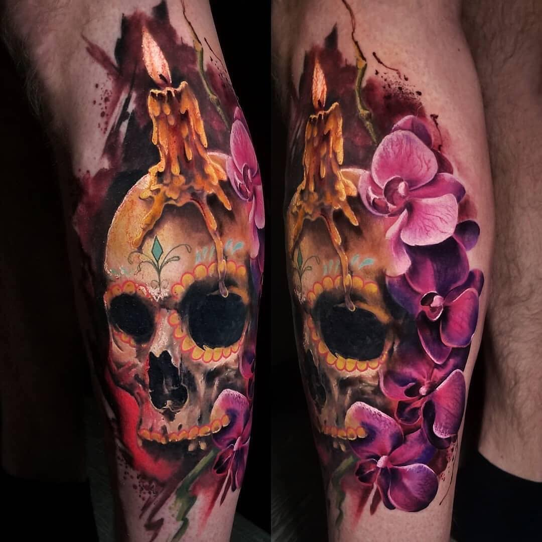Colour Tattoo of a Skull & Candle