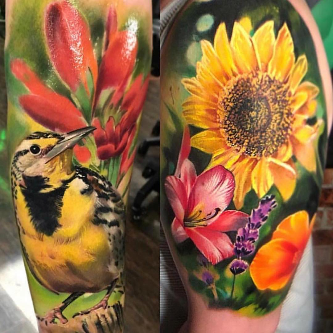 Colour Tattoo of Bird & Flowers by Ivan Aleman