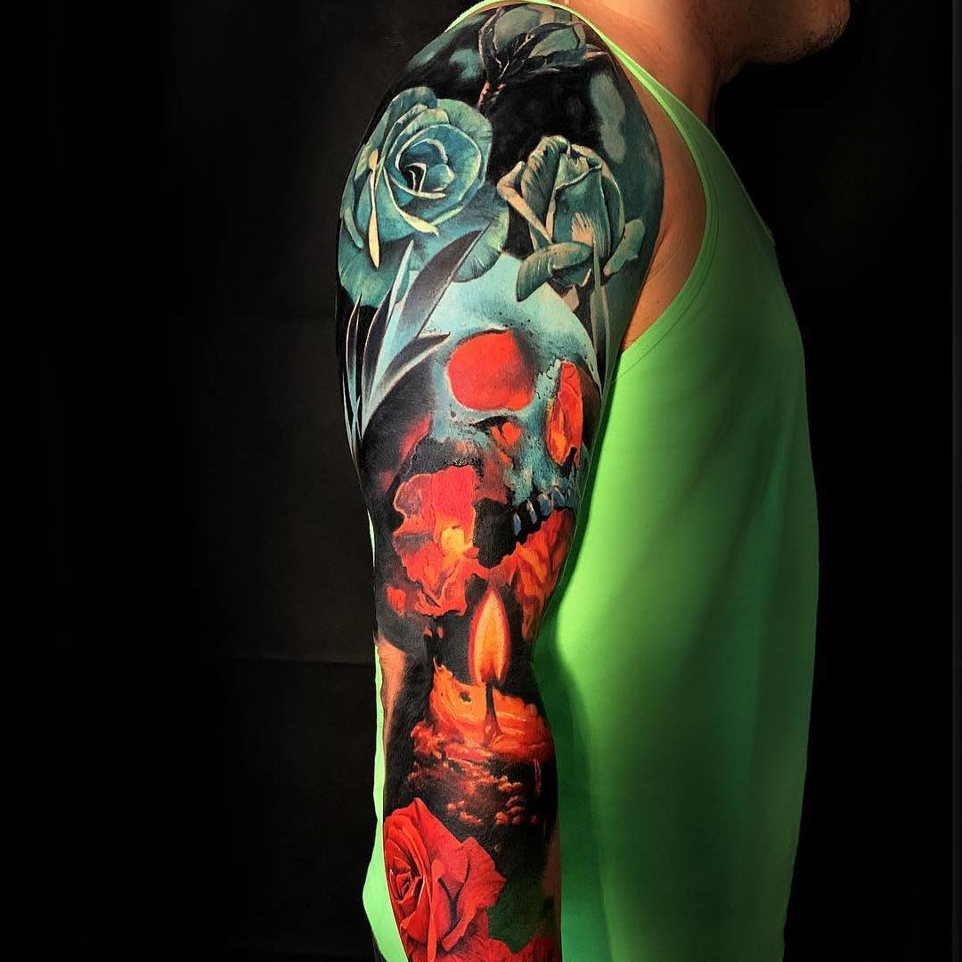 Colour Sleeve Tattoo of Roses and Candle
