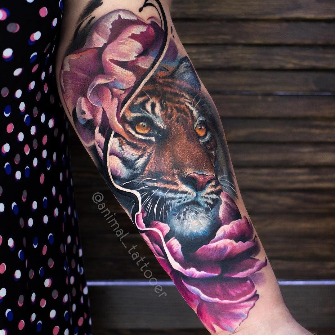 Colour Realism Tattoo of an Arm Tattoor of a Tiger by Natasha Lisova