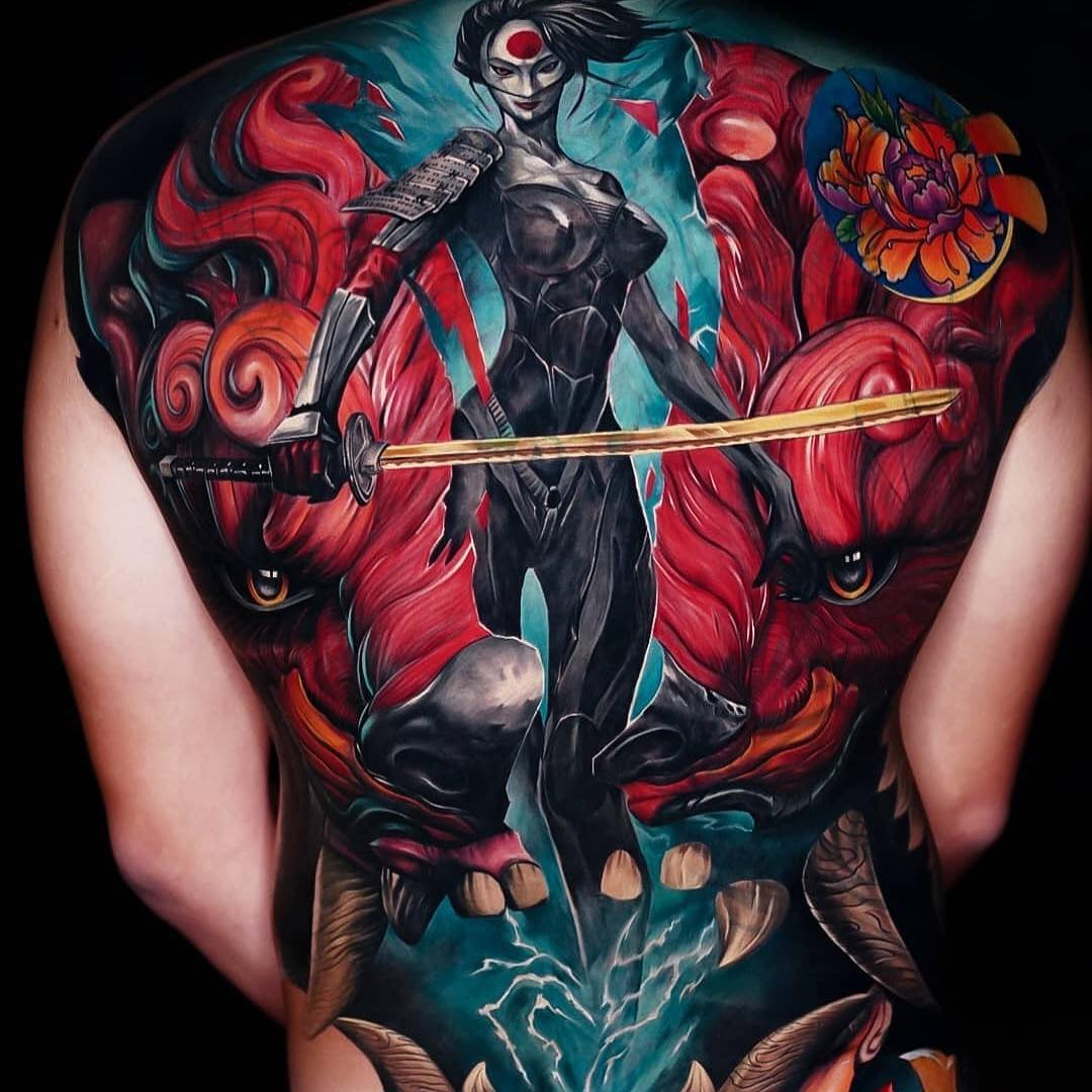 Colour Realism Back Tattoo of female Samurai by Akbar Tawakkai