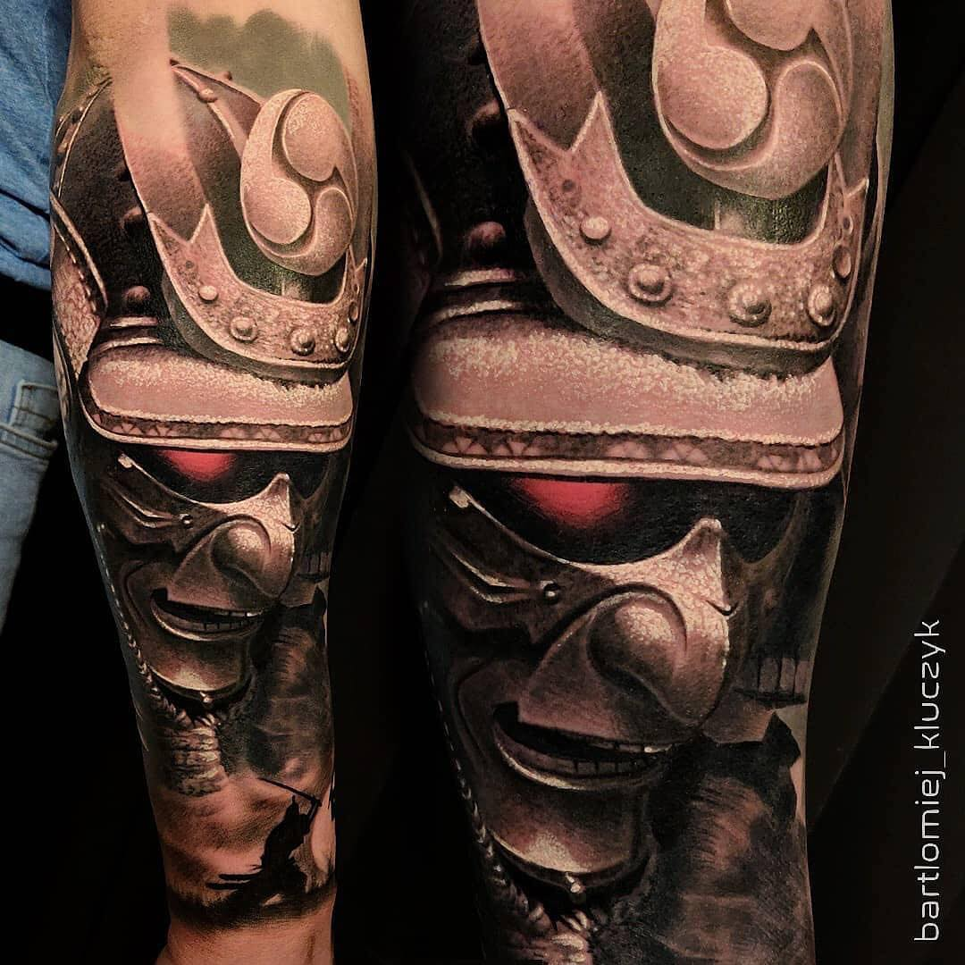 Colour Realism Tattoo of Samurai by Bartlomiej Kluczyk