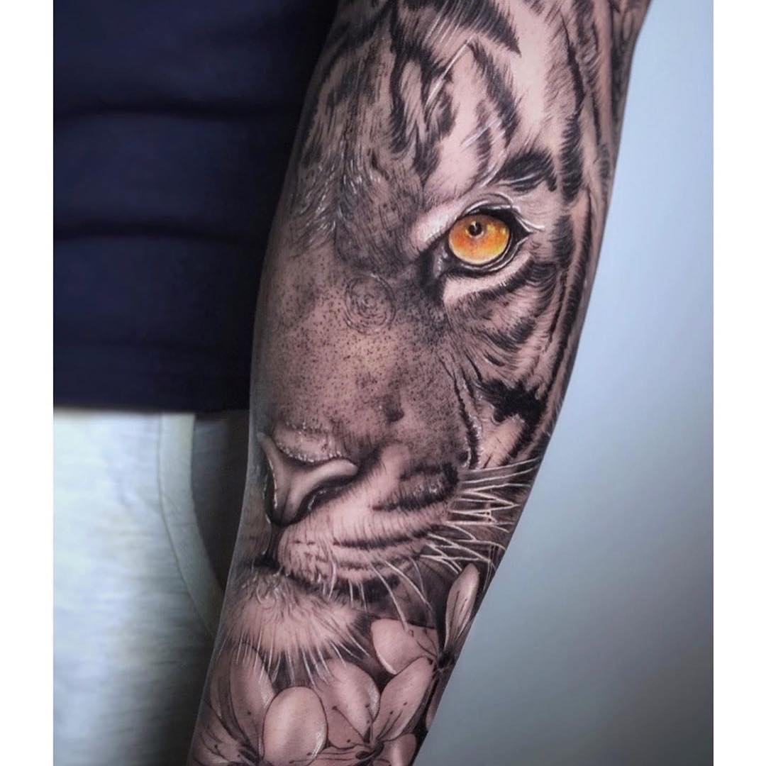 Black & Gery Arm Tattoo of a Tiger by Beyker Lopez