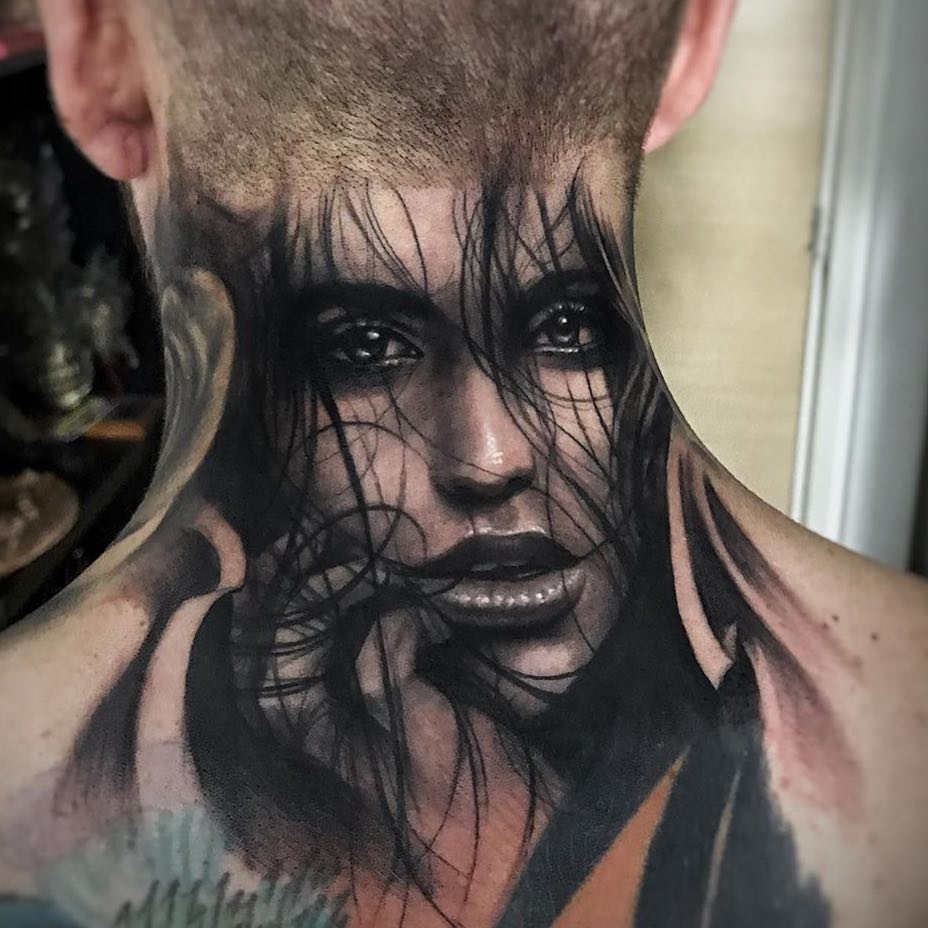 Black & Grey Realism Neck Tattoo of a Womans Face by Ezequiel Viapaino