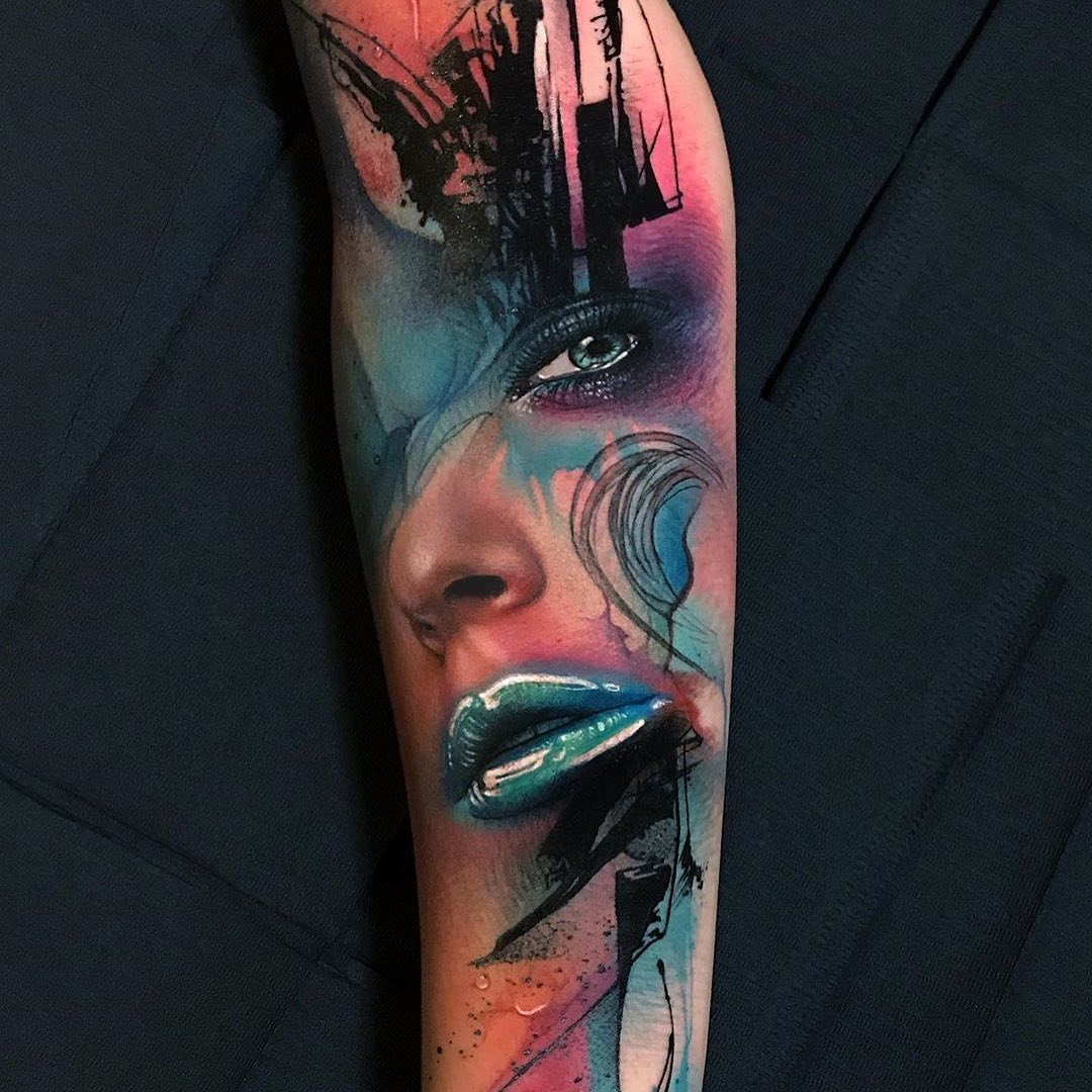 Colour Realism Tattoo of a Womans Face by Giovanni Cozza
